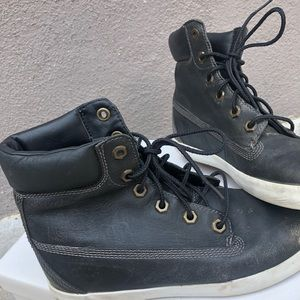 Timberland Black and Gold Lace Up Booties